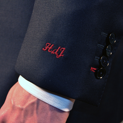 Customize the garment with your initials - Exquisuits online suits